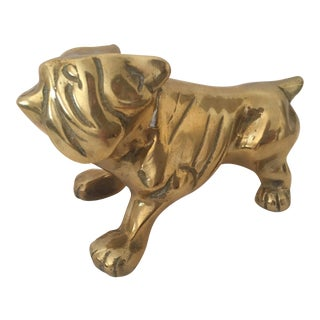 Mid-Century Solid Brass English Bulldog Statue Paperweight