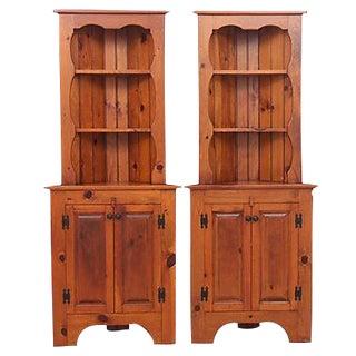 Pine Corner Cabinets - Pair