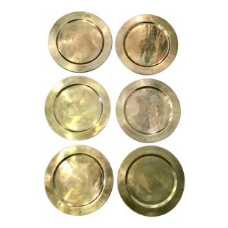 Vintage Brass Charger Plates - Set of 6