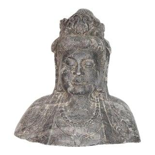 Antique Stone Kwan Yin Goddess Bust