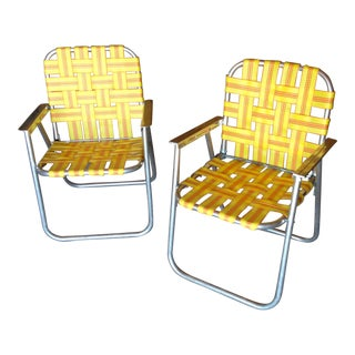 Mid-Century Webbed Aluminum Outdoor Chairs - A Pair
