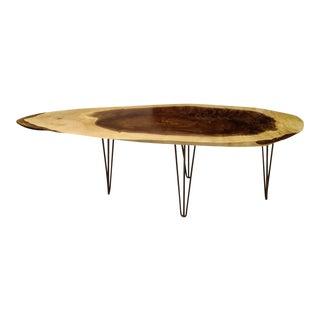 Live Edge Walnut Coffee Table with Hairpin Legs