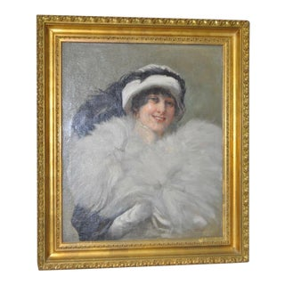 Ralph Elmer Clarkson Early 20th Century Oil Portrait of a Fashionable Young Woman C.1912