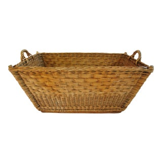 Early 1940s French Willow/Wicker Laundry Market Basket