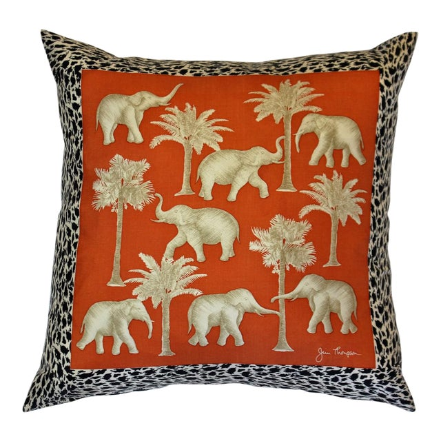 Traditional Thai Pillow : Jim Thompson Orange Thai Elephant Pillow Chairish