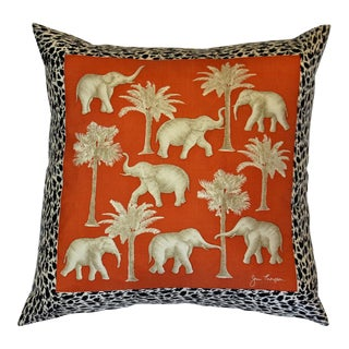Jim Thompson Orange Thai Elephant Pillow