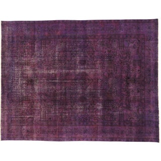 "Vintage Persian Overdyed Purple Rug - 9'8"" X 12'7"""