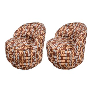 Pair of Mid-Century Modern Upholstered Chairs Attributed to Milo Baughman