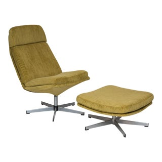 Mid Century Modern Style Chair And Ottoman in Gold Corduroy