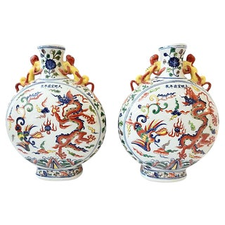 Dragons Porcelain Moon Flasks, S/2
