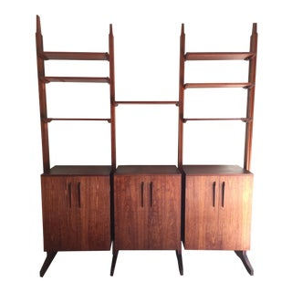 Mid-Century Free Standing Rosewood 3 Bay Wall Unit Shelving