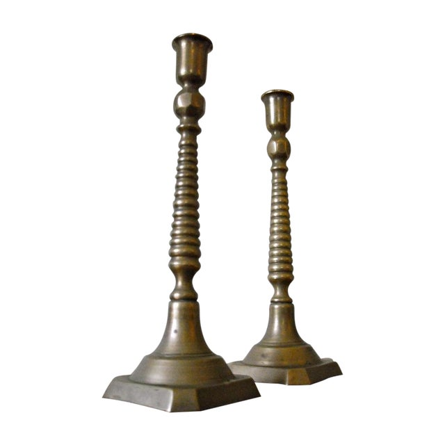 Victorian Antique Brass Candlesticks - A Pair - Image 1 of 5