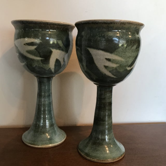 Blue & Green Ceramic Goblets - A Pair - Image 7 of 9