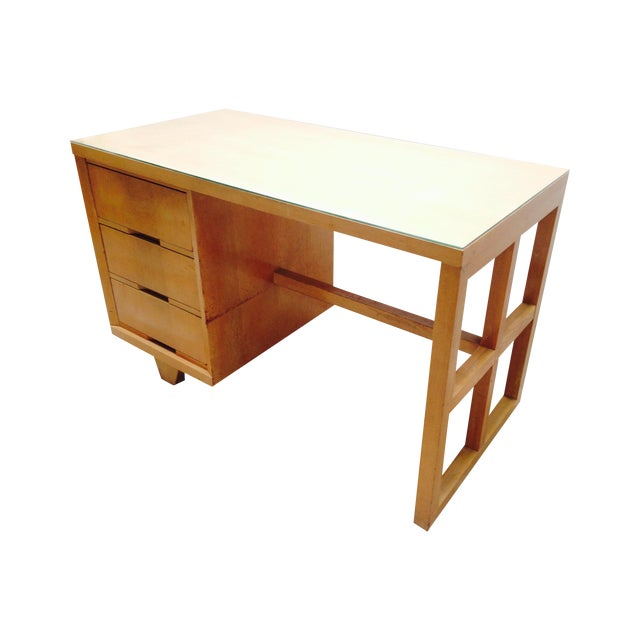 Mid Century Desk in Blonde Oak Finish - Image 1 of 7