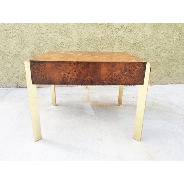Milo Baughman Burlwood and Brass End Table - Image 7 of 9