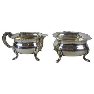 Swedish Silver Ruffled Rim Cream & Sugar Set