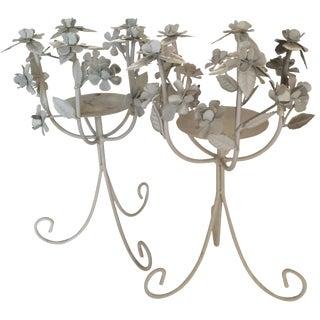 Metal Flower Candleholders - A Pair