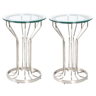 Mid-Century Modern Nickel & Glass Side Tables - A Pair