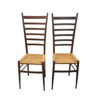 Vintage Italian Ladder Back Chairs - A Pair