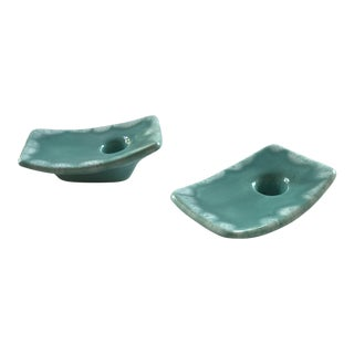 Vintage Ceramic Mid Century Candle Holders - a Pair