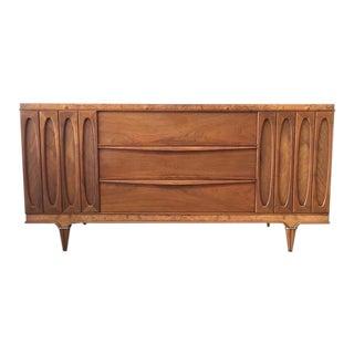 American of Martinsville Walnut & Burlwood Credenza / Dresser