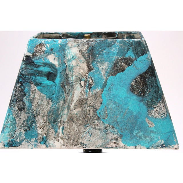 Transitional Turquoise Hand Painted Marble Lamp - Image 5 of 5