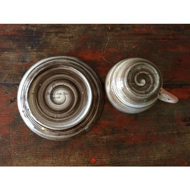 Stylized Spiral Tea Cup & Saucer - Image 6 of 9