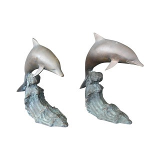 Cresting Wave Bronze Bookend Dolphins - Pair