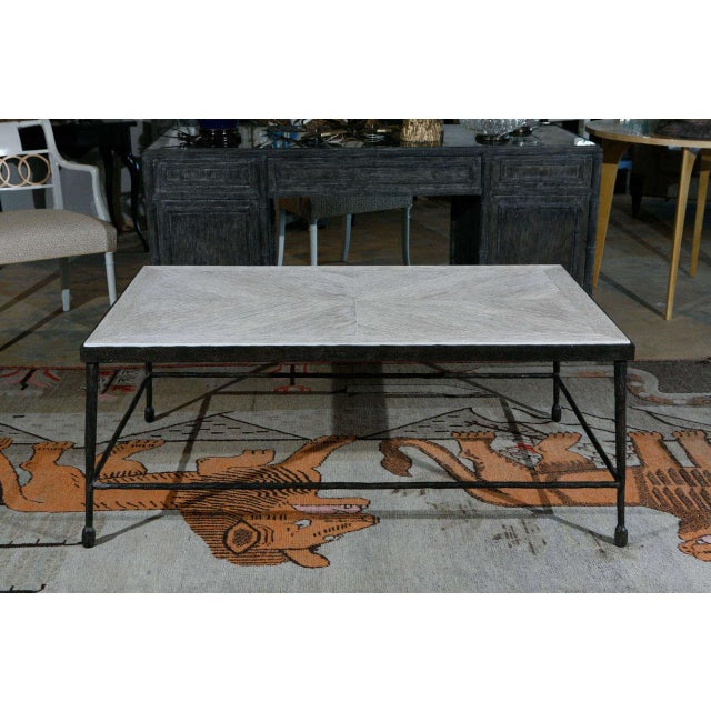 Customizable Paul Marra Textured Iron and Wood Coffee Table - Image 2 of 9