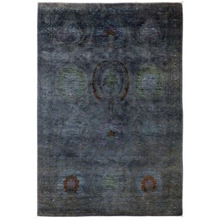 "Vibrance, Hand Knotted Black Wool Area Rug - 4' 1"" X 6' 5"""