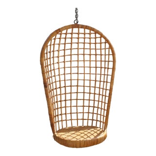 Vintage Rohe Hanging Cane & Rattan Egg Chair