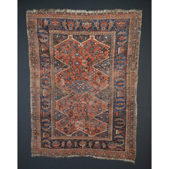 "Distressed Antique Persian Tribal Rug - 3'7"" X 4'9"" - Image 2 of 9"