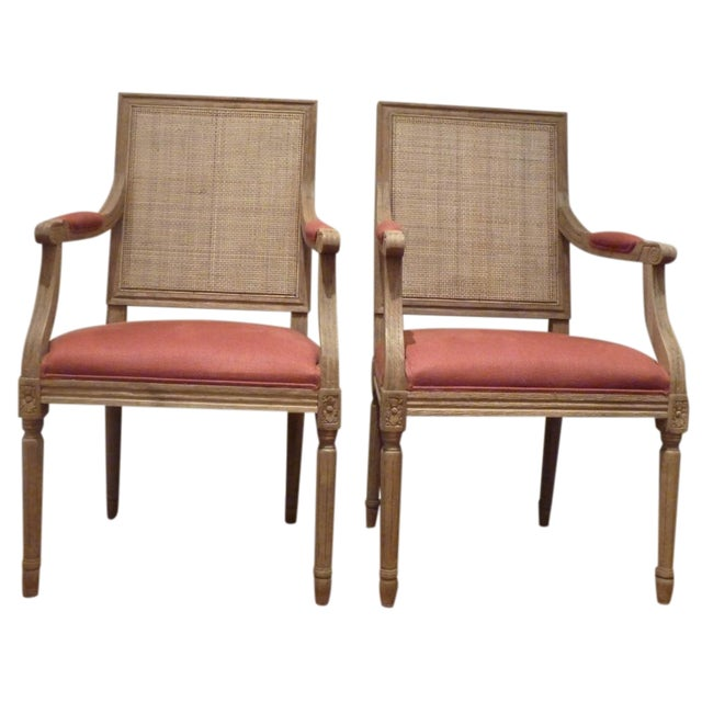 restoration hardware cane back chairs pair chairish. Black Bedroom Furniture Sets. Home Design Ideas