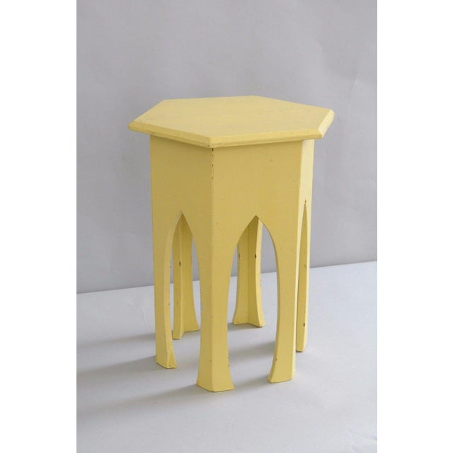 Primitive Rustic Moorish Style Yellow Painted Arched Accent Side Table - Image 2 of 11