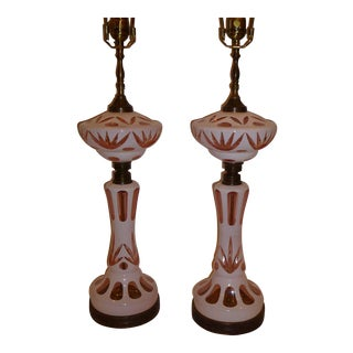 Fine Bohemian Cut Cased Glass Oil Lamp Form Table Lamps