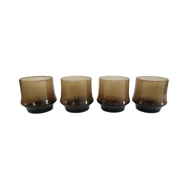 Vintage Libbey St. Clair Smoky Brown Rocks Glasses - Set of 4 - Image 1 of 2
