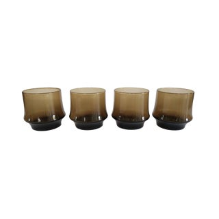 Vintage Libbey St. Clair Smoky Brown Rocks Glasses - Set of 4