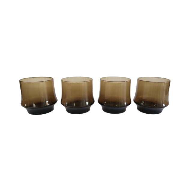 Image of Vintage Libbey St. Clair Smoky Brown Rocks Glasses - Set of 4