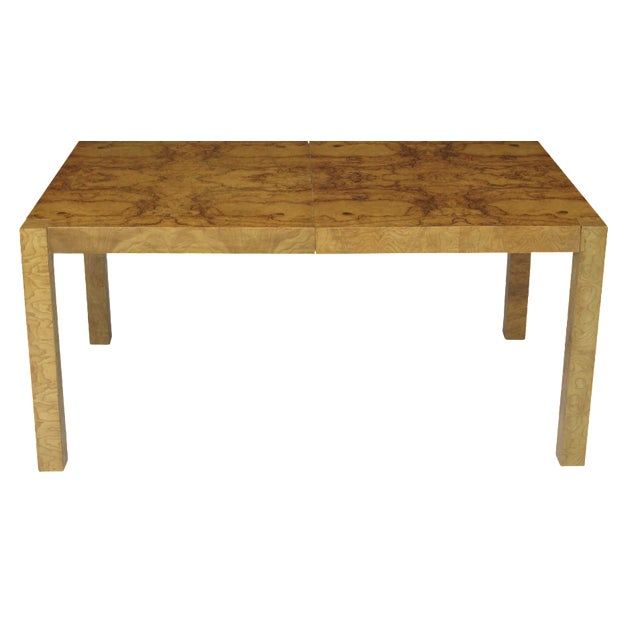 Burled Olive Parsons Dining Table - Image 1 of 9