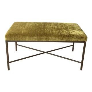 Custom Chartreuse Velvet Upholstered Bench