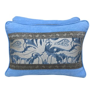 Blue & Silver Printed Fortuny Pillows - A Pair