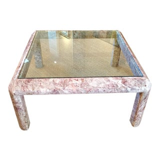 Modernist Marble & Glass Cocktail Table