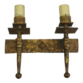 Four Modern Neoclassical Gilt Iron Sconces in the Manner of Gilbert Poillerat