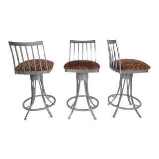 Contemporary Modern Velvet Leopard Bar Stools - Set of 3