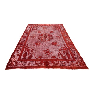 Red Overdyed Rug Turkish Carved Rug - 6′7″ X 10′2″