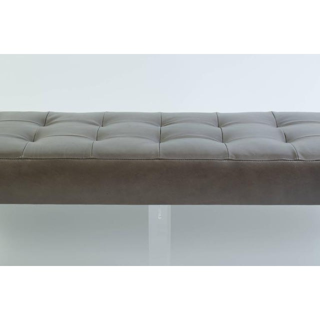 Lucite Prism Bench in Gunmetal Leather with Blind Tufting by Montage - Image 4 of 8