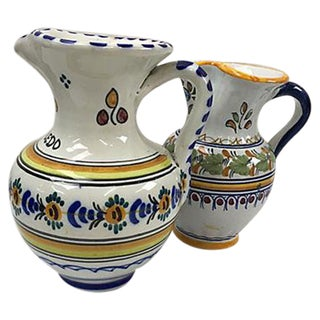 Spanish Painted Terracotta Pitchers - Set of 2