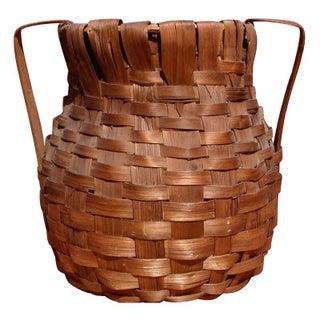 Antique Woven Wicker Basket Jug