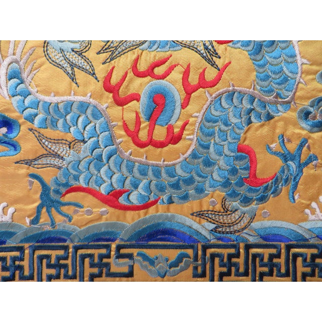 Embroidered Oriental Yellow & Blue Dragon Matts - Image 3 of 3