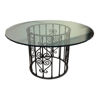 Ornate Iron Base & Hammered Edge Glass Top Round Dining Table